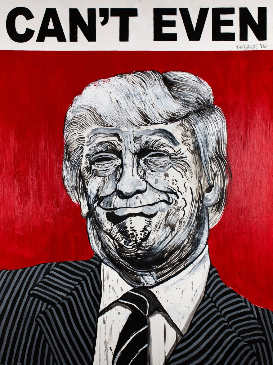 """""""I paint them exactly the way these people look on the inside,"""" street artist Robbie Conal says about his latest subjects — President Trump and his inner circle."""