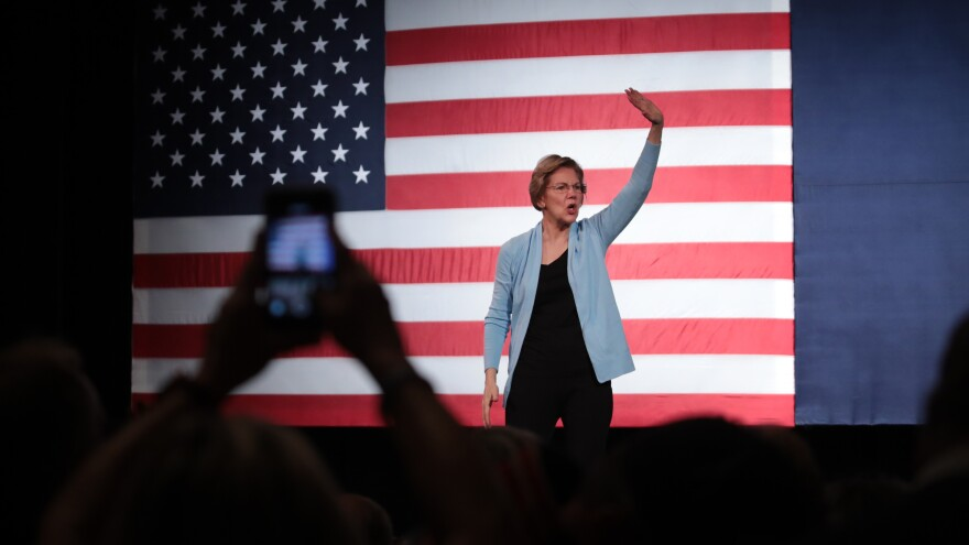 Sen. Elizabeth Warren hosts a rally at the Rochester Opera House on Monday in Rochester, N.H.