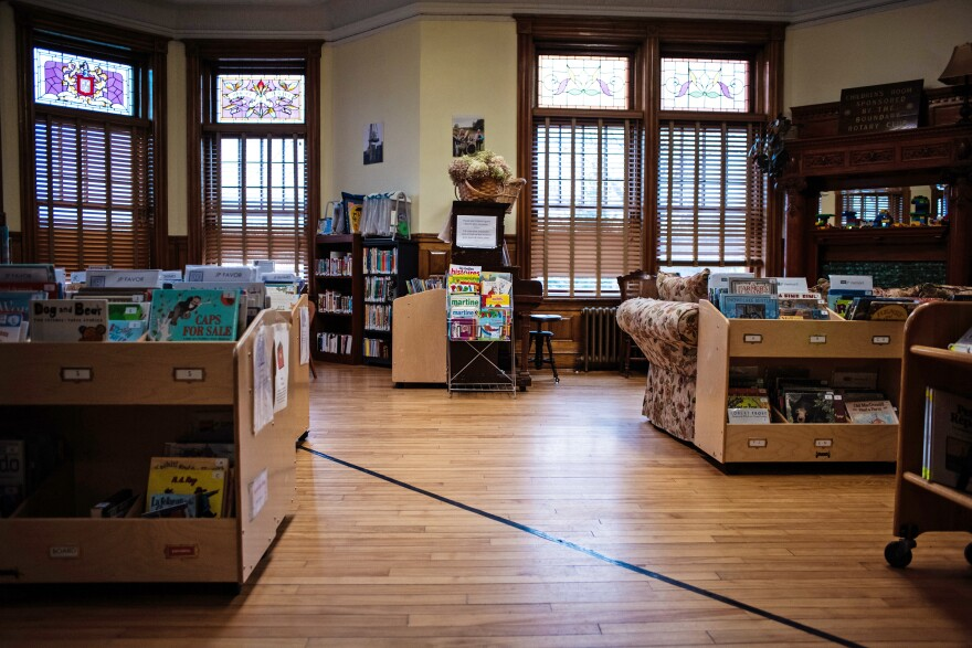 "The Haskell Free Library has a piece of black tape along the floor marking the international boundary. ""The library staff has to keep a sharp eye on who comes and goes,"" Scott Wheeler, who publishes a local history magazine, says."