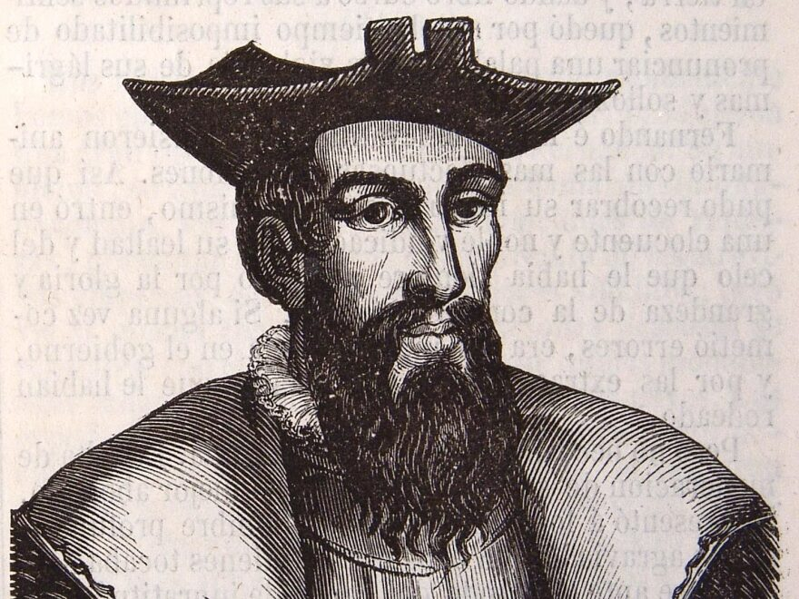A portrait of Vasco da Gama, the Portuguese explorer who was the first known Westerner to sail directly from Europe to India.