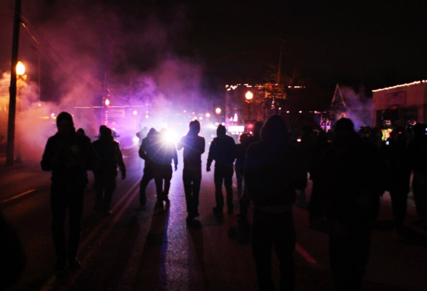 Tear gas was used in Ferguson. Nov. 24 2014