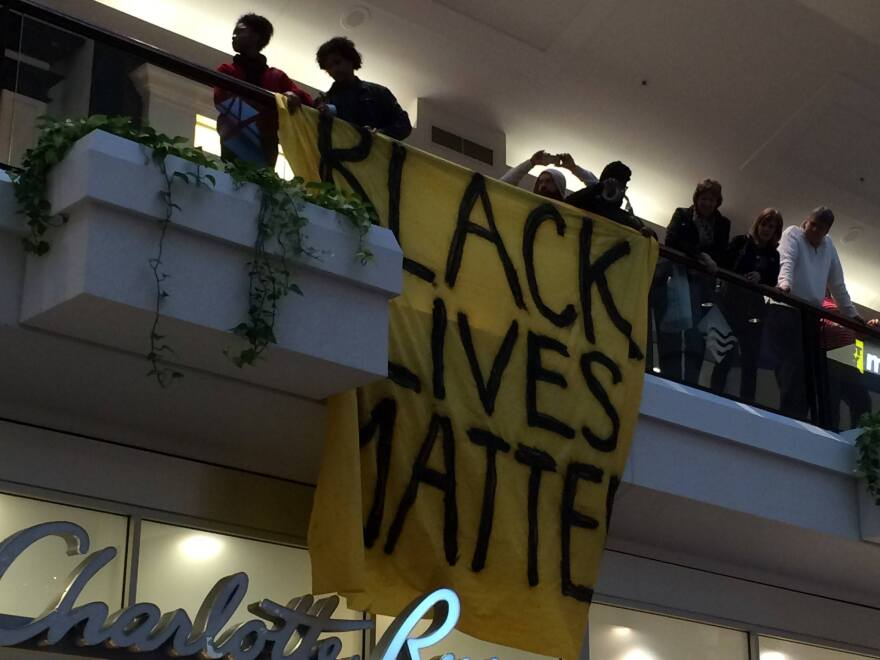 Black Lives Matter protesters at the Mall at Fairfield Commons on December 24, 2014.