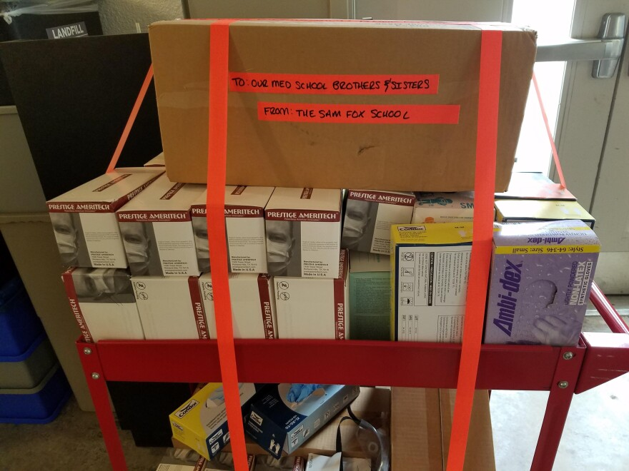Students from the Sam Fox School of Design and Visual Arts at Washington University donated their supplies of personal protective equipment.