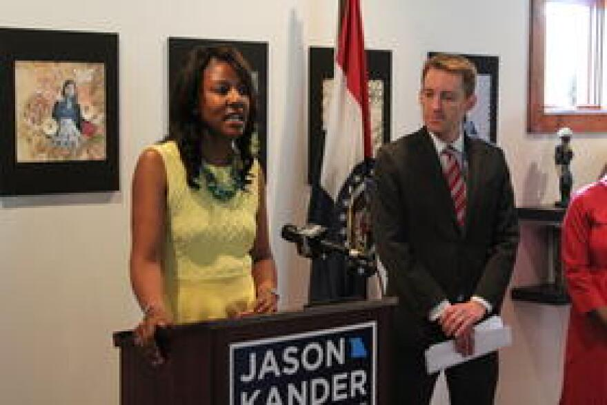 St. Louis Treasurer Tishaura Jones speaks at an April press conference for Kander's campaign.