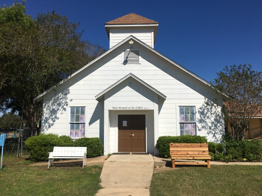 The original sanctuary of First Baptist Church of Sutherland Springs where a mass shooting took place in 2017.