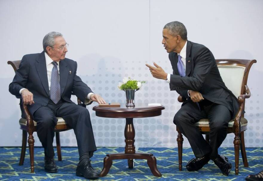 Cuban President Raul Castro (left) and U.S. President Barack Obama at their historic meeting Saturday at the Summit of the Americas in Panama.
