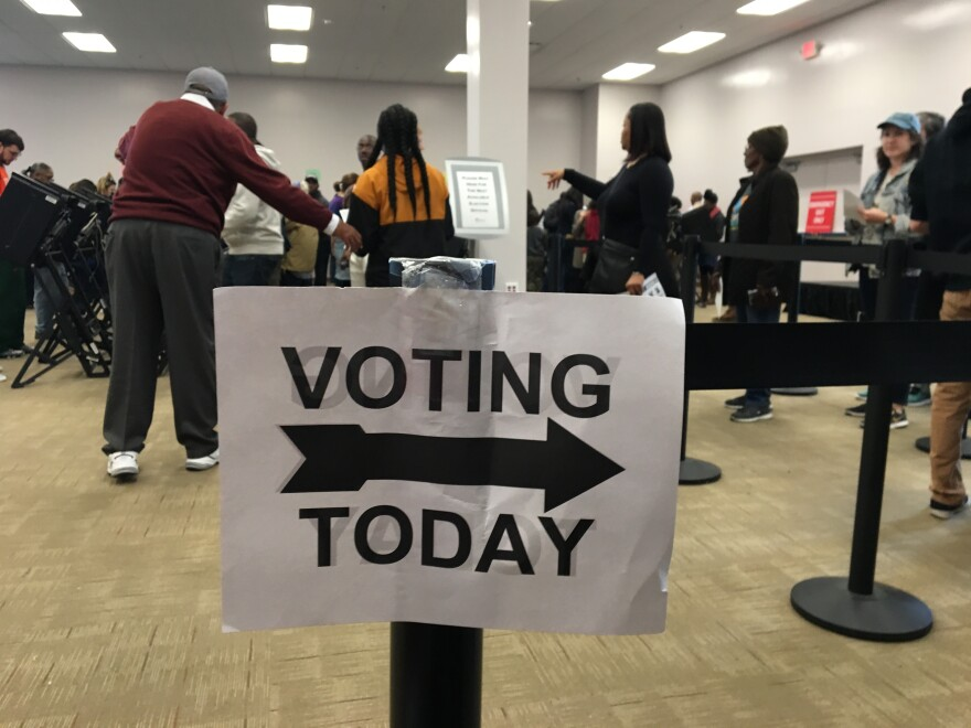 photo of a voting sign