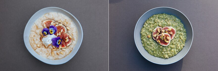 Definitely not traditional: two colorful takes on porridge, from Friday's London Porridge Championships.