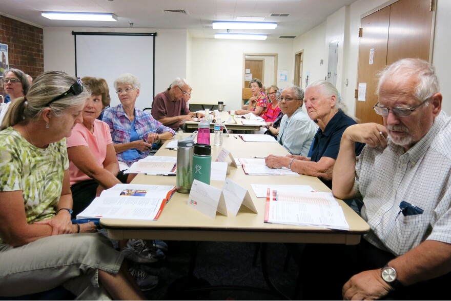 Driver safety classes, like this one offered by AARP in Aurora, Colo., include discussion of ways to minimize blind spots and the effects of medication on driving, along with a review of road rules.