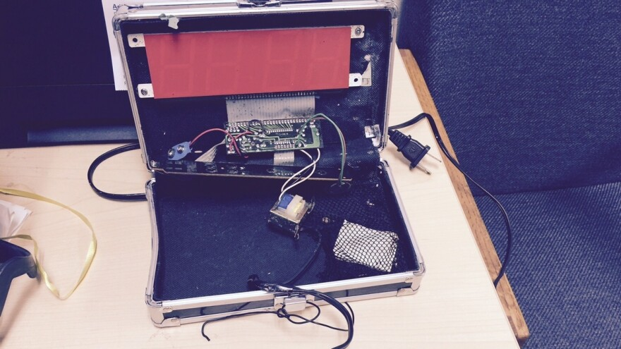 A photo released by the Irving Police Department shows the digital clock built by Ahmed Mohamed, using a pencil case.
