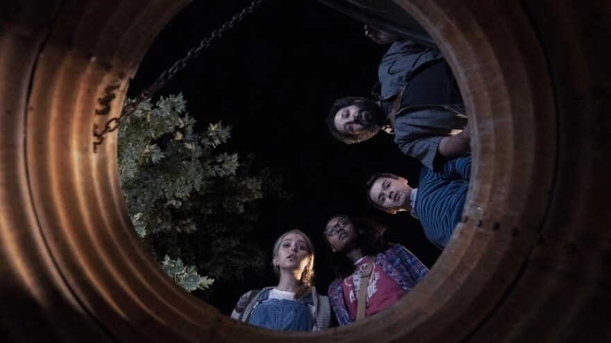 (Center to Right): Samantha (Jessica Rothe), Becky (Ashleigh LaThrop), Ian (Dan Byrd) and Wilson (Desmin Borges) are bunker buddies in <em>Utopia</em>.