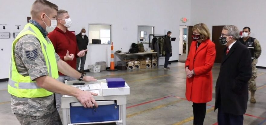 Fran and Gov. Mike DeWine tour the ODH Receipt, Store, and Stage warehouse on Tuesday.