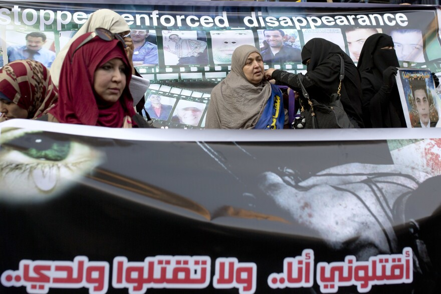 Relatives of detained prisoners, who claim their loved ones have been forcibly disappeared, protest and demand the release of their relatives in May in front of the Journalist's Syndicate building, in Cairo.