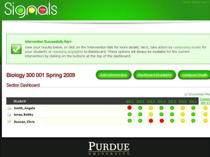The Course Signals dashboard tells professors how their students are doing at a glance.