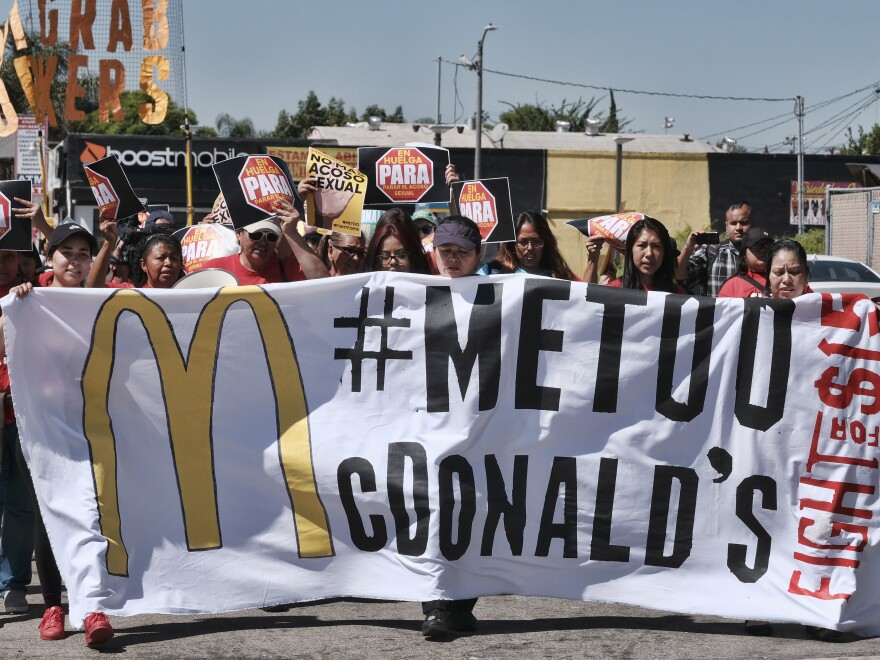 McDonald's workers marching in Los Angeles in September 2018 as part of a multi-state strike seeking to combat sexual harassment in the workplace.