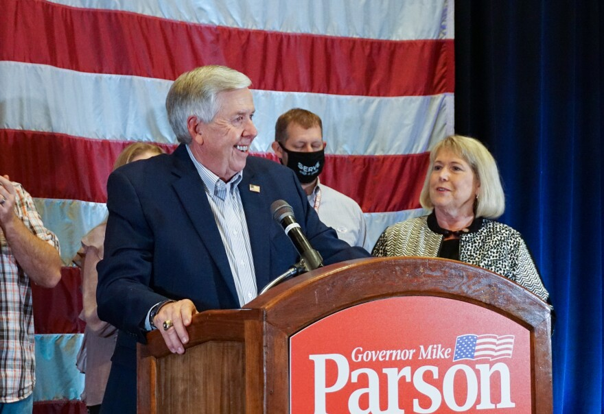 Gov. Mike Parson gives a victory speech to supporters Tuesday night at the White River Conference Center in Springfield, Missouri. The win against Democrat Nicole Galloway gives Parson his first full term as Missouri governor.