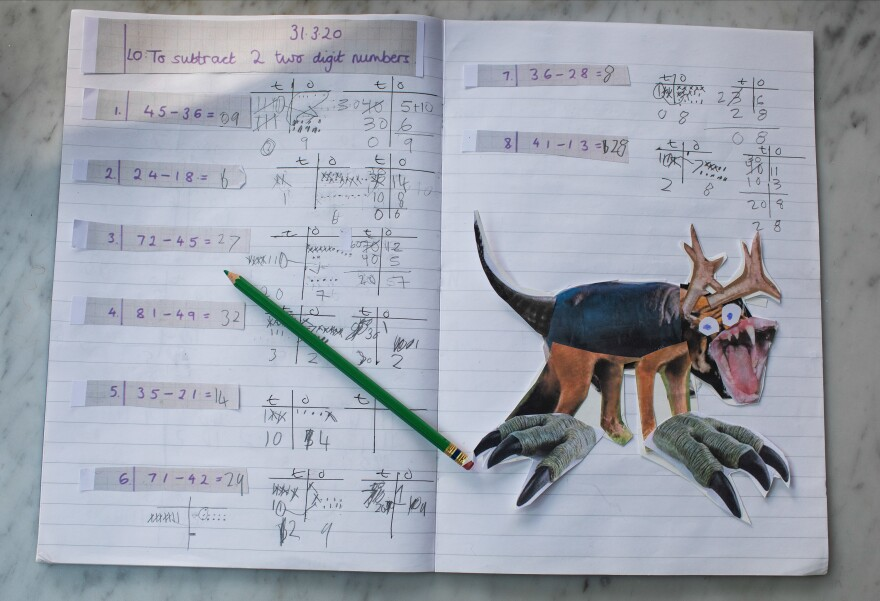 Joe created this mythical beast for an art assignment using photo collage. It sits comfortably on his homeschooling notebook next to a math assignment.