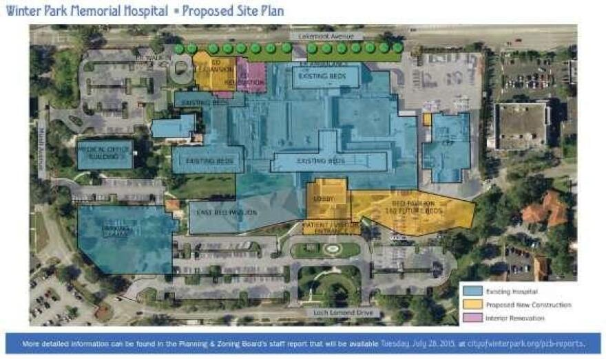 Winter Park Memorial Hospital plans to add 160 hospital beds in a five-story tower, and add to the ER.