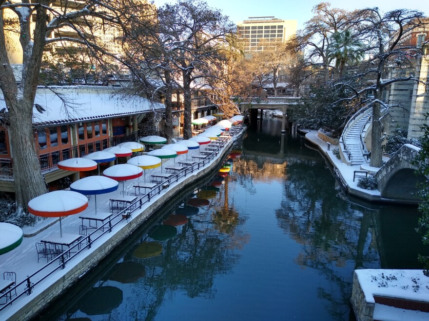 The River Walk in San Antonio covered by snow morning of Monday, Feb. 12, 2021. Steve Short, Texas Public Radio