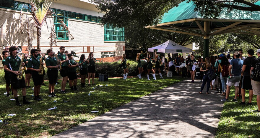 "The Herd of Thunder band boomed as a line of students stretched more than 100 yards on the University of South Florida's Tampa campus for the first ever ""4 U's Fight the Flu."" Thomas Iacobucci/WUSF Public Media"