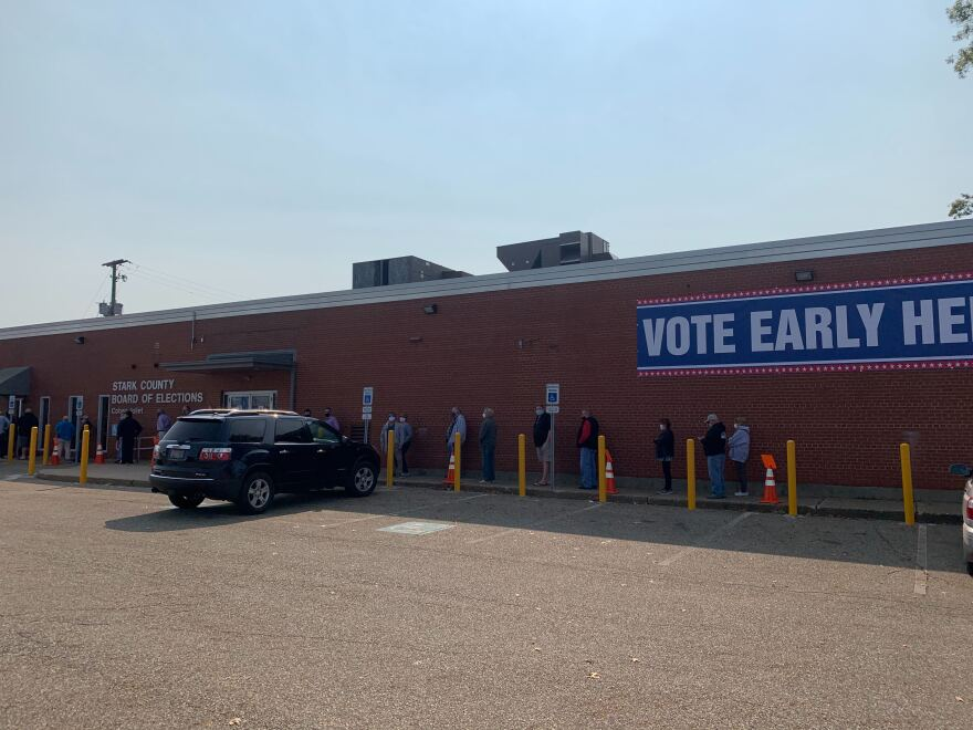 photo of line outside Stark County Board of Elections on first day of early voting Oct. 6, 2020