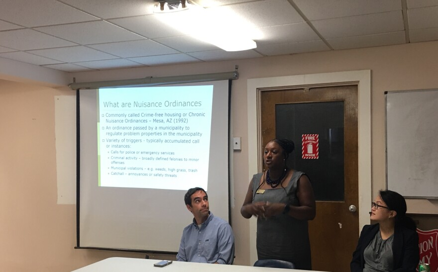 Lawyers Kalilah Jackson and Sandra Park led a discussion in Maplewood informing residents of the city's nuisance ordinance.