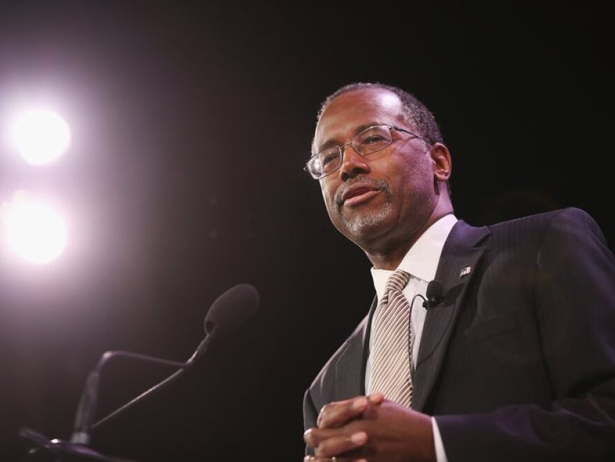 Ben Carson speaking in Iowa in January.