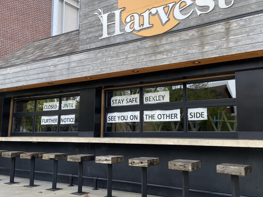"""""""Closed"""" signs on the front of a restaurant in Bexley near downtown Columbus"""