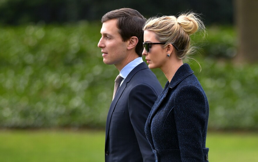 White House senior adviser Jared Kushner and his wife, Ivanka Trump, walk toward Marine One at the White House on March 3. A watchdog group says that Kushner should recuse himself from certain duties since he is President Trump's son-in-law and has potentially conflicting business ties.