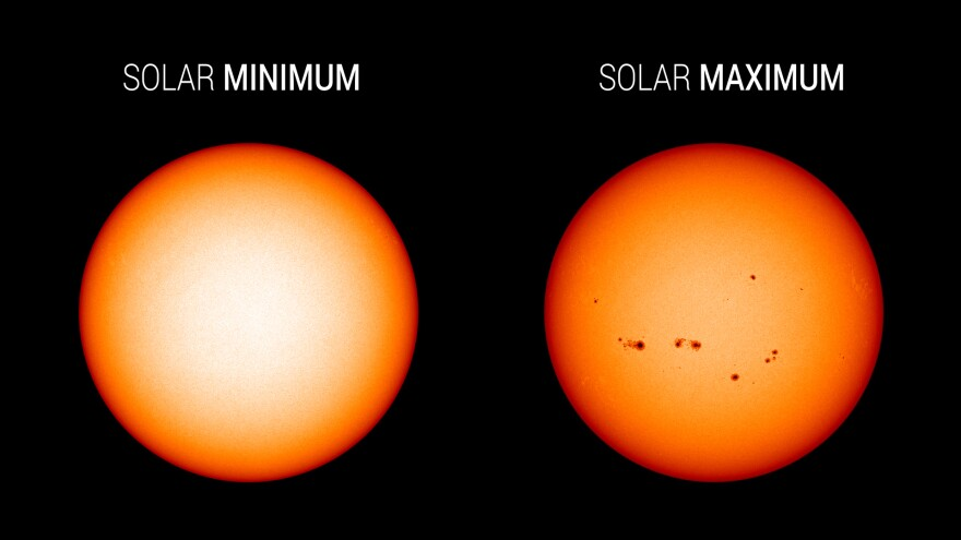 Visible light images from NASA's Solar Dynamics Observatory highlight the appearance of the Sun at solar minimum (left, Dec. 2019) versus solar maximum (right, July 2014). Sunspots are associated with solar activity, and are used to track solar cycle progress.