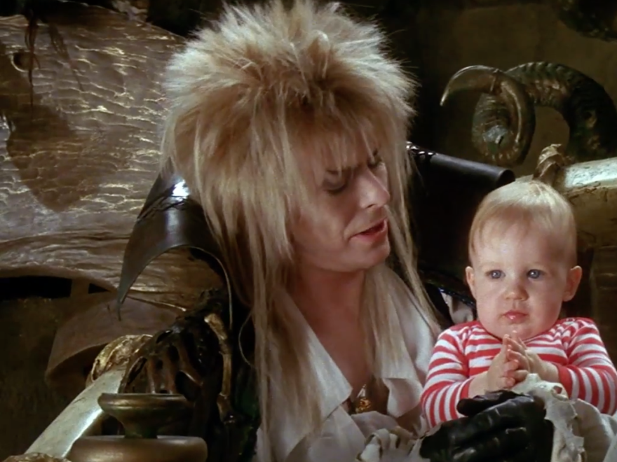 David Bowie in a scene from the 1986 film Labyrinth.