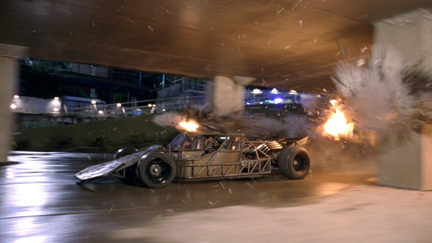 This little skeleton-of-the-Batmobile-y looking thing is actually one of the vehicles on display in <em>Fast & Furious 6</em>.