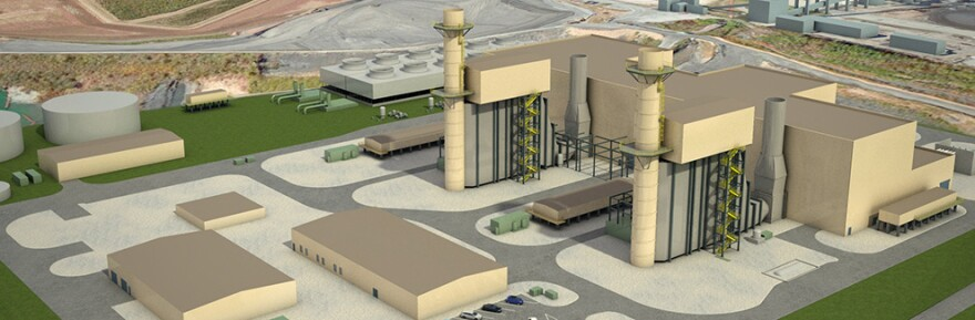 Illustration of Duke Energy's $1 billion project, which calls for two new gas-fired units in Asheville. The current coal-fired plant will be retired by 2020.