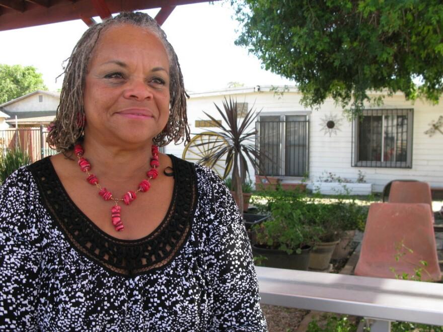 Mayisha Akbar, executive director of the Compton Jr. Posse, in her backyard in Richland Farms.