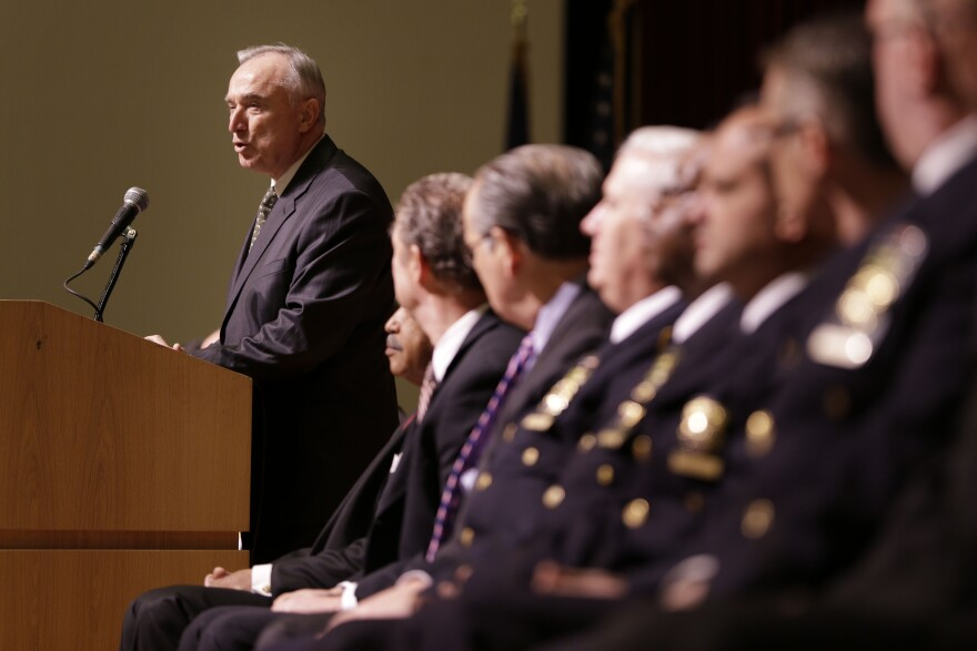 New York City Police Commissioner Bill Bratton speaks during an NYPD swearing-in ceremony in New York on Jan. 7. He confirmed to NPR today that there had been a work slowdown by officers  in the weeks since two police officers were shot dead. He said the matter was being corrected.