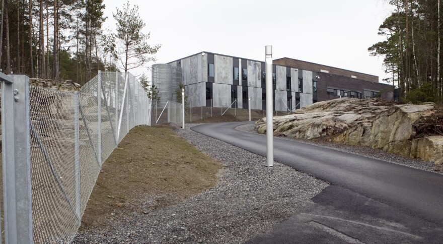 The prison in Halden, Norway, shown here in April 2010, is surrounded by a 25-foot-high concrete wall and little else to suggest it's a maximum-security facility. The emphasis is on treating the prisoners with respect and giving them the skills to reintegrate into society when they leave.
