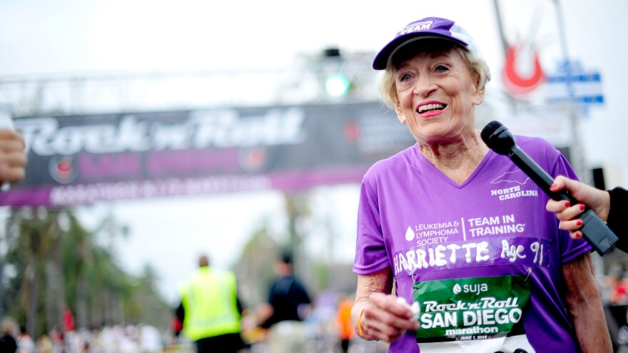 Harriette Thompson meets the press at the finish line of the Suja Rock 'n' Roll San Diego Marathon on Sunday