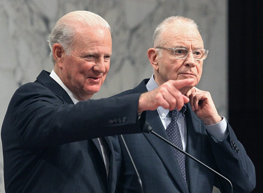 James A. Baker III (L), former Secretary of State and chief of staff under the Regan and Bush Sr. administrations on Capitol Hill in Washington, DC.