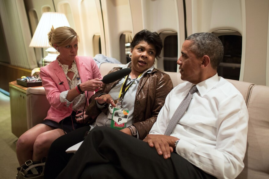 President Barack Obama interviewed by April Ryan aboard Air Force One en route to Air Force Base Waterkloof in South Africa, June 28, 2013. (Pete Souza/White House)