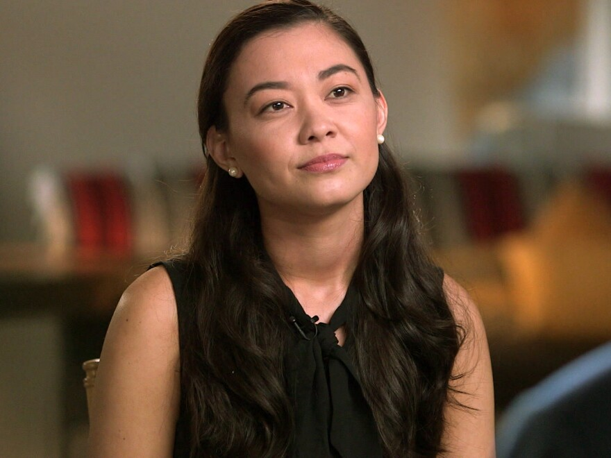 This image released by CBS shows Chanel Miller during an interview on <em>60 Minutes,</em> set to air Sept. 22.