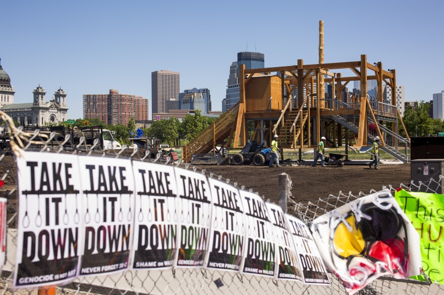 <em>Scaffold,</em> a sculpture by Sam Durant, stands in the Minneapolis Sculpture Garden. The art work is a reflection on the country's long history of institutionalized killing and references the hanging of 38 Dakota men among other executions. After swift community outcry, it will be dismantled and later ceremonially burned.