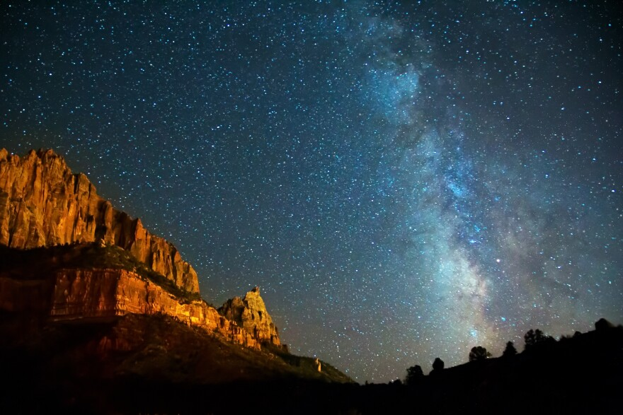 Photo of milky way galaxy over Zion National Park.