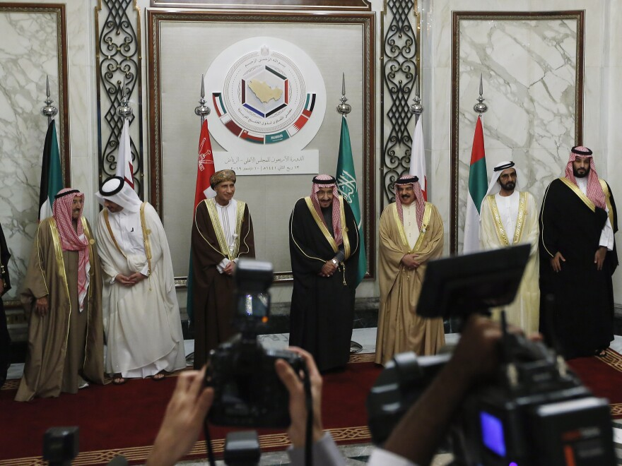 Leaders of the Gulf Cooperation Council pose for photographers following their summit in Riyadh, Saudi Arabia, in December 2019.