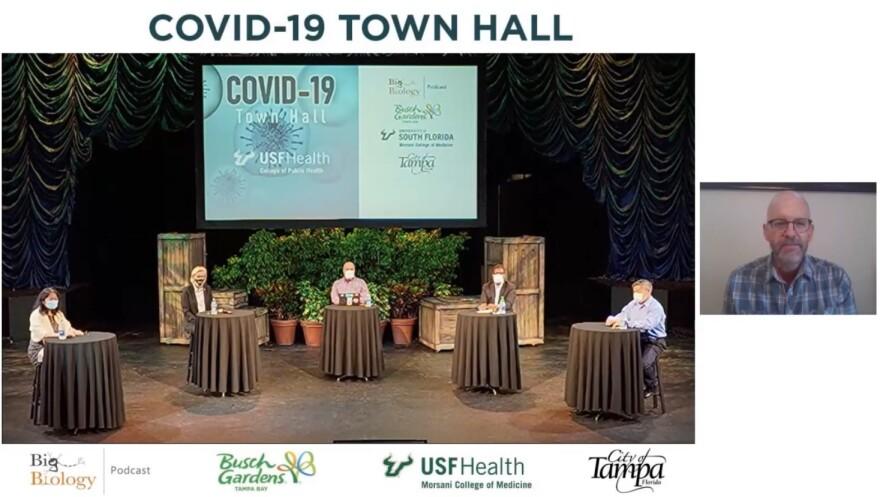 Kami Kim, Mayor Jane Castor, Marty Martin, Edwin Michael, Michael Teng and Art Woods have a virtual town hall meeting at Busch Gardens Tampa.