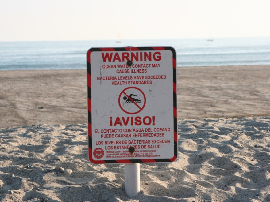 Doheny Beach in Orange County, Calif., photographed in 2005. A report on pollution at the nation's beaches found that Doheny failed at least one water quality standard 42 percent of the time it was tested in 2010.