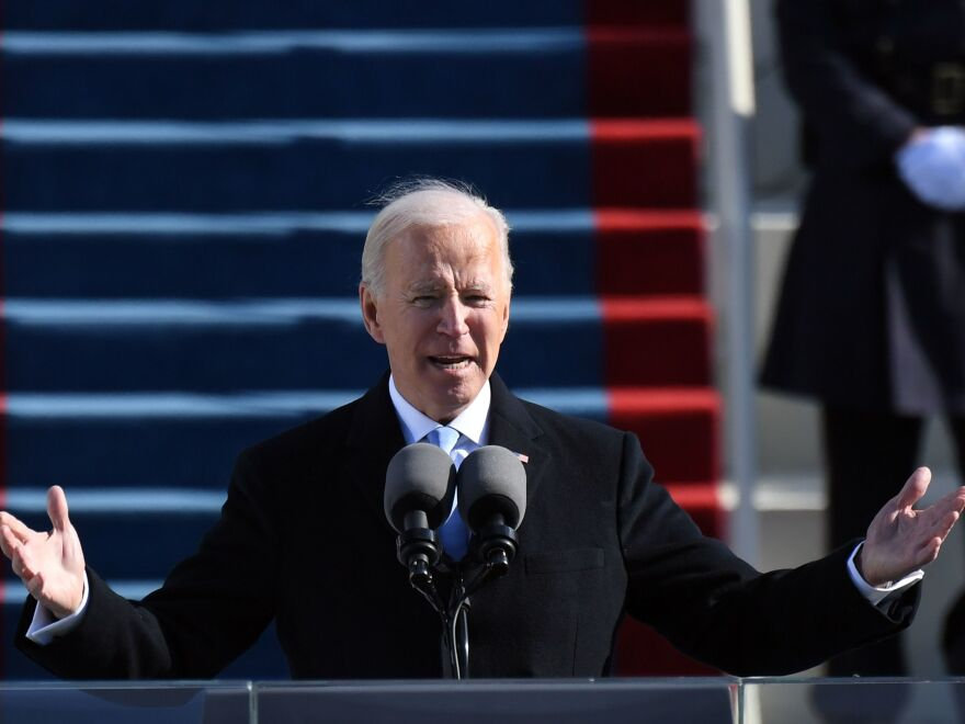 President Biden delivers his inauguration speech Wednesday at the U.S. Capitol.