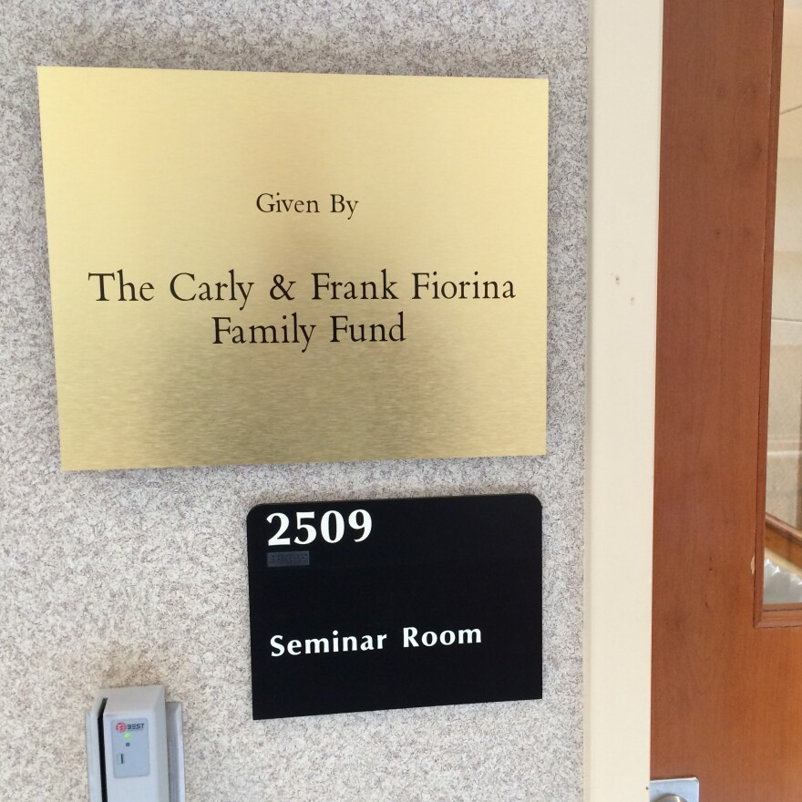 A plaque at the University of Maryland's business school. Fiorina got an M.B.A. at the school after talking her way in through the dean.
