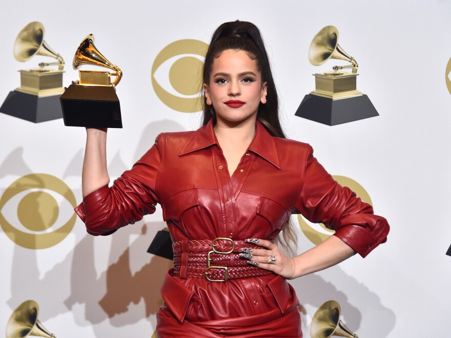 Rosalía, winner of the Grammy Award for Best Latin Rock, Urban or Alternative Album for <em>El Mal Querer</em>, poses in the press room during the Grammy Awards on Jan. 26 in Los Angeles.