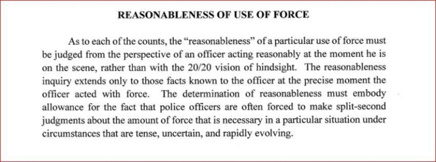 """The """"Reasonable Force"""" section of the instructions given to jurors in the Jeronimo Yanez trial."""
