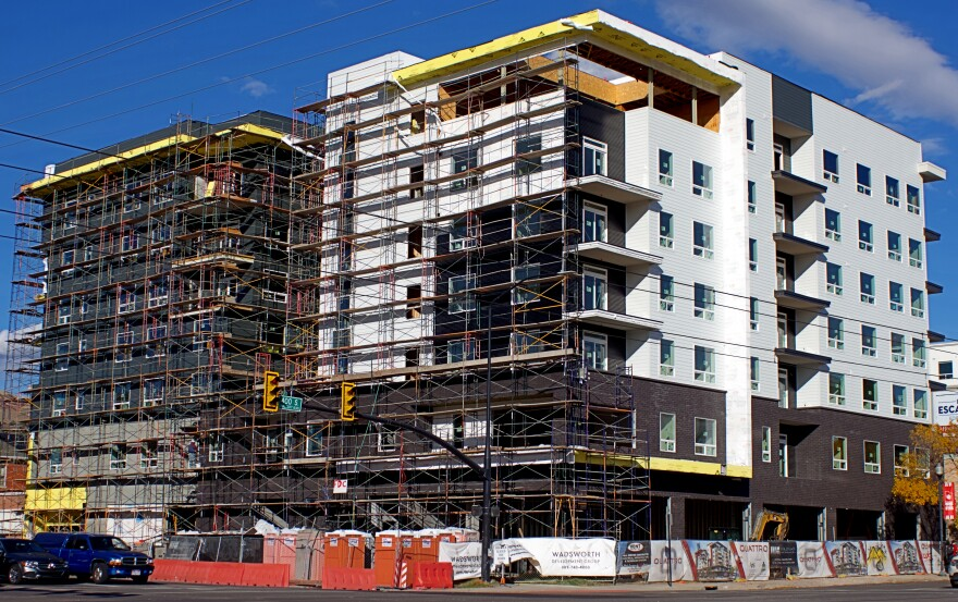 Photo of large apartment building under construction in Salt Lake City.